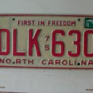 1978 North Carolina NC First in Freedom License Plate DLK-630