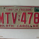 1978 North Carolina NC First in Freedom License Plate MTV-478