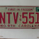 1978 North Carolina NC First in Freedom License Plate NTV-551