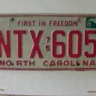 1978 North Carolina NC First in Freedom License Plate NTX-605