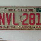 1978 North Carolina NC First in Freedom License Plate NVL-281
