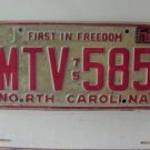 1979 North Carolina NC First in Freedom License Plate MTV-585