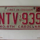 1979 North Carolina NC First in Freedom License Plate NTV-939