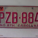 1979 North Carolina NC Plain Base License Plate PZB-884
