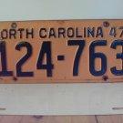 1947 North Carolina NC Passenger License Plate 124-763