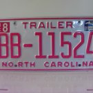 2001 North Carolina NC Trailer License Plate BB-11524 EX
