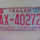 2000 North Carolina NC Trailer License Plate AX-40272 MS