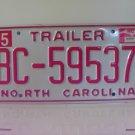 2002 North Carolina NC Trailer License Plate BC-59537 MS