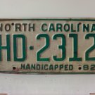 1982 North Carolina Handicapped License Plate EX NC HD-2312