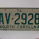 1971 North Carolina Passenger YOM License Plate EX NC AV-2928