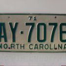 1971 North Carolina Passenger YOM License Plate EX NC AY-7076
