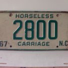 1967 North Carolina NC Horseless Carriage License Plate 2800