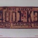 1956 North Carolina NC Trailer License Plate 4801-KB
