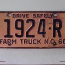 1960 North Carolina NC Farm Truck License Plate 1924-R