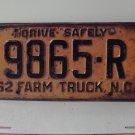 1962 North Carolina NC Farm Truck License Plate 9865-R