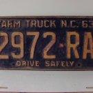 1963 North Carolina NC Farm Truck License Plate 2972-RA