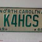 1969 North Carolina NC Amateur Radio License Plate K4HCS