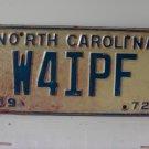 1972 North Carolina NC Amateur Radio License Plate W4IPF