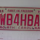 1975 North Carolina NC Amateur Radio License Plate WB4HBA