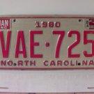 1984 North Carolina NC YOM License Plate VAE-725