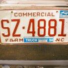 1995 North Carolina NC Farm Truck License Plate SZ-4881