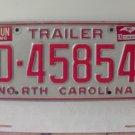 1992 North Carolina NC Trailer License Plate D-45854