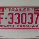 1992 North Carolina NC Trailer License Plate F-33037
