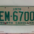 1978 North Carolina EX Truck YOM License Plate NC #EM-6700