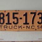 1954 North Carolina NC Truck License Plate 815-173