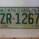 1969 North Carolina NC Passenger YOM License Plate ZR-1267 Mint!
