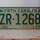 1969 North Carolina NC Passenger YOM License Plate ZR-1268 Mint!