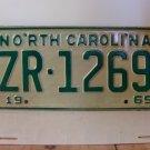 1969 North Carolina NC Passenger YOM License Plate ZR-1269 Mint!