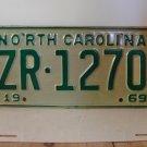 1969 North Carolina NC Passenger YOM License Plate ZR-1270 Mint!