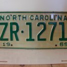 1969 North Carolina NC Passenger License Plate ZR-1271 Mint