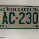 1969 North Carolina NC Passenger License Plate AC-230 VG