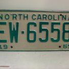1969 North Carolina NC Passenger License Plate EW-6558 VG