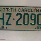 1969 North Carolina NC Passenger License Plate HZ-2090 VG