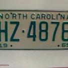 1969 North Carolina NC Passenger License Plate HZ-4878 VG