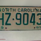 1969 North Carolina NC Passenger License Plate HZ-9043 VG