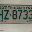 1969 North Carolina NC Passenger YOM License Plate HZ-8733 Excellent!