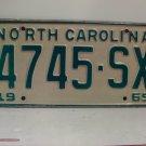 1969 North Carolina NC Truck License Plate 4745-SX VG