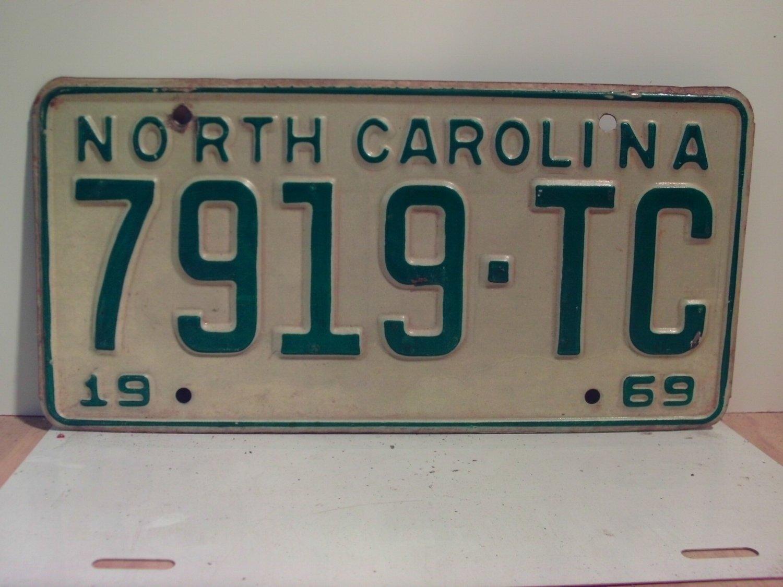 1969 North Carolina NC Truck License Plate 7919-TC VG
