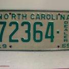 1969 North Carolina NC Dealer License Plate 72364 VG