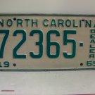 1969 North Carolina NC Dealer License Plate 72365 VG