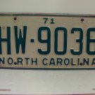 1971 North Carolina NC Passenger License Plate HW-9036 VG