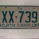 1971 North Carolina NC Passenger YOM License Plate XX-739 Excellent!