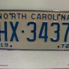 1972 North Carolina NC Passenger YOM License Plate HX-3437 Excellent!