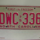 1975 North Carolina NC Passenger YOM License Plate DWC-336 Excellent!
