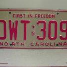 1975 North Carolina NC Passenger YOM License Plate DWT-309 Excellent!