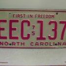1975 North Carolina NC Passenger License Plate EEC-137 VG